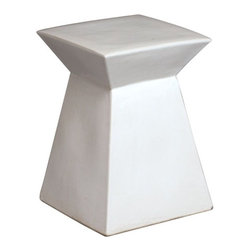 Square Ceramic Garden Stool/Table - This is a modern take on an ancient tradition. The geometric design of this garden stool makes it fresh and interesting.