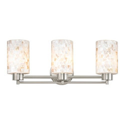 Design Classics Lighting - Bathroom Light with Mosaic Glass in Satin Nickel Finish - 703-09 GL1026C - Country / cottage satin nickel 3-light bathroom light. A socket ring may be required if installed facing down. Takes (3) 100-watt incandescent A19 bulb(s). Bulb(s) sold separately. UL listed. Damp location rated.