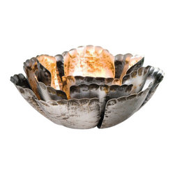 Pier Surplus - Metal Floral Tealight Holder, Large  #CL229293 - Metal shiny patina in shimmering silver with bronze and brown accents, this elegant and charming floral candle holder will light up your home and add tone and style to your lighting options. It will set you in the mood for a peaceful night or even a romantic candle light dinner. Place this unique candle holder in the bedroom or living room and let its beauty and uniqueness impart style and light to your home. Each holder resembles a flower in full bloom complete with petals.