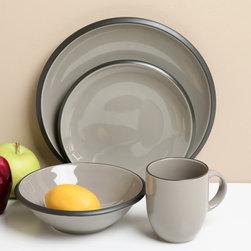 Red Vanilla Hampshire Grey 16-piece Dinnerware Set -