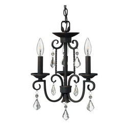 Hinkley Lighting - Casa 3503 Chandelier by Hinkley Lighting - The Hinkley Lighting Casa 3503 Chandelier adds some sparkle to its fine, Southwestern inspired metalwork. It features hand-forged wrought iron scrolls and twists in a deep Olde Black finish. The delicately ornate frame of this mini chandelier is accented by a number of clear crystal pendalogues. Cleveland-based Hinkley Lighting is driven by a passion to combine design and function to create exceptional lighting solutions. Family-owned Hinkley began as a traditional lantern company in 1922, and, still today, they produce top quality outdoor lighting. Hinkley Lighting has also expanded to include a full range of interior lighting solutions, including chandeliers, sconces, pendants and vanity lights.