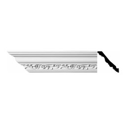 Renovators Supply - Cornice White Urethane Zoe - Cornice - Ornate | 10982 - Cornices: Made of virtually indestructible high-density urethane our cornice is cast from steel molds guaranteeing the highest quality on the market. High-precision steel molds provide a higher quality pattern consistency, design clarity and overall strength and durability. Lightweight they are easily installed with no special skills. Unlike plaster or wood urethane is resistant to cracking, warping or peeling.  Factory-primed our cornice is ready for finishing.  Measures 4 3/4 inch H x 94 inch L.