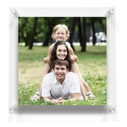 "Wexel Art - 1414 Double Panel Acrylic Wall Frame 14x14 - Get the floating effect while fully enclosing your artwork between two panel of lucite. Ideal for any square images including sizes 8x8, 10x10 or 12x12. Includes: 2 acrylic panels 14x14"" OD (3/16 and 1/8 inch thickness) with polished edges, 4 wall mounts (5/8"" diameter and 1.5 inches long), 4 screws and anchors. No magnets needed. When you want to change out your display, just unscrew the caps on the hardware and lift off the top panel of acrylic."