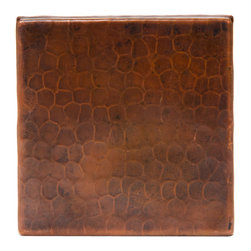 "Premier Copper Products - 4"" x 4"" Hammered Copper Tile - 4"" x 4"" Hammered Copper Tile"