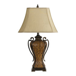 Cal Lighting - Cal Lighting BO-2242 Table 150 W 3 Way Charleston Resin  Table Lamp - 150W 3 Way Charleston Resin Table Lamp
