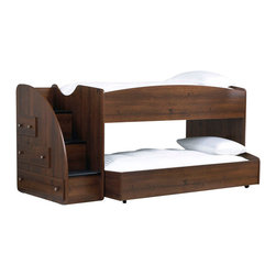 Standard Furniture - Standard Furniture Parker Loft Bed w/ Trundle in Golden Brown Cherry - Parker Bedroom offers the perfect solution for rooms that have a smaller footprint, yet still need lots of storage. - 65950-LB-TR.  Product features: Design features include clean case profiles, lipped drawers with step shaped edges, smooth base line cuts and rounded top crowns. ; Parker's mid- height Loft Bed allows a twin size sleeping area up top with the Dresser and Bookcase fitting beneath, all in the same compact floor space. ; For safety there is a sturdy built-in side rail and stair unit with nonslip tread surface to access the loft sleeping area, which allows extra drawer storage within the stair end panel. ; For clothing storage there is a Double Dresser with Vertical Mirror, and a 5-Drawer Chest. ; Plus, there is a Bookcase cubby that doubles as an open Nightstand for the bedside. ; Twin and Full Size Panel Beds are also available, and have rounded tops that coordinate with the Vertical Mirror. ; Parker has sturdy folded case construction of durable engineered wood products with a warm golden brown cherry finish on pine grained laminate veneers. ; Its hardware is a wooden knob with a brushed nickel insert.; Surfaces clean easily with a soft cloth.; Surfaces clean easily with a soft cloth.. Product includes: Stairs w/ Storage (1); Rails & Slats (1); Trundle (1). Loft Bed w/ Trundle in Golden Brown Cherry  belongs to Parker Collection by Standard Furniture.