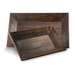Graham Rectangular Trays - Set of 2 - A serving tray that serves more than one purpose. The Graham Rectangular Trays - Set of 2 feature a rich Forest Finish that enhances the handsome wood grain detail. The raised rim allows for stylish containment of tray contents. When not in use as a serving piece, the tray doubles as a centerpiece on your dining table or a display piece on a sideboard.