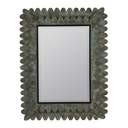 """Cooper Classics - Rustic - Lodge Chagal 36"""" High Rectangular Wall Mirror - Revive any empty wall or vanity area with the spectacular Chagal wall mirror. The design features a dramatically scalloped frame in aged brown and black metal finishes with sea green undertones. Beveled mirror glass brings a dash of luxury to the handsome design. An eye-catching accent mirror that will add texture and reflection to any living space! Rectangular wall mirror. Aged brown and black metal finish with sea green undertones. Scalloped design. Beveled mirror glass. 36"""" high. 28"""" wide. Mirror glass only is 24 1/4"""" high 16 1/4"""" wide.  Rectangular wall mirror.  Aged brown and black metal finish with sea green undertones.  Scalloped design.  Beveled mirror glass.  36"""" high.  28"""" wide.  Mirror glass only is 24 1/4"""" high 16 1/4"""" wide."""