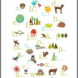Rebecca Peragine Inc / Children Inspire Design - Nature Themed English Alphabet 11x14 Children's Wall Art Print - This is the piece of wall art for kids your nursery or playroom is missing!  The simple nature imagery design for kids makes learning fun and the sweet style and gender-neutral colors will match any room decor.
