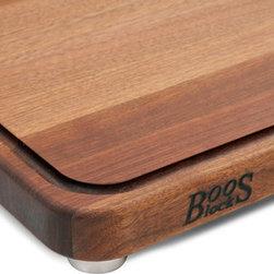 John Boos - John Boos Walnut Tenmoku Cutting Board - Steel Feet & Juice Groove - John Boos walnut edge-grain cutting board. Features juice groove and stainless steel bun feet, rounded corners. Two sizes 20 x 15 and 24 x 18 x 1-1/2 in.