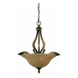 """Triarch International - Triarch International 33232 21"""" 3 Light Pendant Value Series 230 Collec - 21"""" 3 Light Pendant from the Value Series 230 CollectionWith Scavo glass set in Platinum Bronze and subtle gold detailing, this rich series will complement any home."""