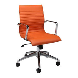 Pastel Furniture - Pastel Furniture Janette 38 Inch Office Chair in Orange - The Janette office chair has a retro and modern flair that will brighten any room. The chair features durable chrome and aluminum frame with wheel casters. It is comfortably upholstered in PU orange with adjustable tilt tension control and lift adjustable seat height. The Janette chair works in any and every office space.