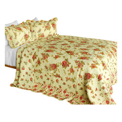 Blancho Bedding - [Beauty of Light] 3PC Cotton Contained Patchwork Quilt Set (Full/Queen Size) - Set includes a quilt and two quilted shams (one in twin set). Shell and fill are 100% cotton. For convenience, all bedding components are machine washable on cold in the gentle cycle and can be dried on low heat and will last you years. Intricate vermicelli quilting provides a rich surface texture. This vermicelli-quilted quilt set will refresh your bedroom decor instantly, create a cozy and inviting atmosphere and is sure to transform the look of your bedroom or guest room. Dimensions: Full/Queen quilt: 90 inches x 98 inches  Standard sham: 20 inches x 26 inches.
