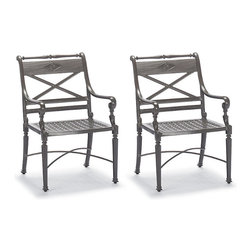 Frontgate - Carlisle Set of Two Gray Dining Outdoor Arm Chairs, Patio Furniture - Fine-furniture design. 100% ingot aluminum, a premium quality material. Hand-filed welds. Rich, multilayered slate finish with UV protected top coat. Optional cushion with Velcro® ties. Our Carlisle Slate Dining Arm Chair's impeccable, grandly scaled cast-aluminum frame is crafted to stand the test of time. Fine furniture details such as scrolling arms and crisscrossing back are in a rich, multilayered onyx finish. Optional chair cushion covered in premium 100% solution-dyed fabrics. Part of the Carlisle Slate Collection.  .  .  .  . Optional cushion with Velcro ties . 100% solution-dyed and woven fabrics . All-weather fiberfill . Cushions also available with 100% waterproof Sunbrella Rain performance fabric.