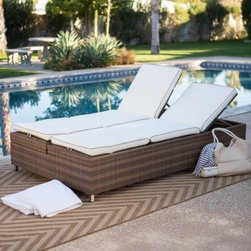 Belham Living All-Weather Wicker Double Chaise Sun Lounger - With so many ways to enjoy the All-Weather Wicker Sun Lounger Double Chaise Lounge you'll wonder how you every survived the outdoor season without it. With an aluminum frame this chaise is wrapped in all-weather resin wicker in a sweet Honey color. It's highly resistant to weather moisture and fading so it'll stay looking good season after season. An Olefin piped cushion adds comfort to this durable piece. Now let's talk about all the things this double chaise can do! Raise one side to enjoy this piece as an outdoor sofa. You'll even be able to adjust the backrest to whatever is most comfortable. Lay it flat and make an ideal sleeping surface in the fresh air. For use as a chaise lounge there are four individually functioning adjustable headrests. Raise both or just one at one end and you and a friend can lay side by side. Raise one on each end and you can face each other while you soak up some rays. About Belham Living Belham Living builds catalog-quality furniture in traditional styles at a price that actually makes sense. By listening to our customers and working closely with great manufacturers we build beautiful pieces worthy of your home. Rich wood finishes attention to detail and stylish lines that tie everything together are some of the hallmarks of a Belham Living piece. From the living room or bedroom through the kitchen and out onto the deck there's something from an incredible Belham collection perfect for your style.