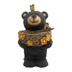 Alpine Fountains - Bear Statue with Birdfeeder - Material: Resin. No Assembly Required. Overall Dimensions: 7 in. L x 8 in. W x 15 in. H ( 2.38 lbs. )