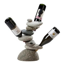 Funky Rock Designs - 6 bottle Rock Wine Rack - This cool 6 Bottle Rock Wine Rack is an amazing, all natural piece that fits perfectly in any decor! This piece of functional art can work inside or at outside dinner parties and gatherings.