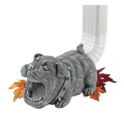 """EttansPalace - Bulldog Gutter Downspout Statue - With wide-open mouth to steer water from your downspouts onto your lawn (and keep it from damaging your foundation), our Butch the Bulldog gutter sculpture splashes happily as some of the most decorative architectural art were seen! Cast in quality designer resin to capture playful sculptural detail, from spiked collar to wide eyes, this Bear statue is as fun as it is functional. (Fits standard rectangular downspouts up to 2.5""""x3"""")"""