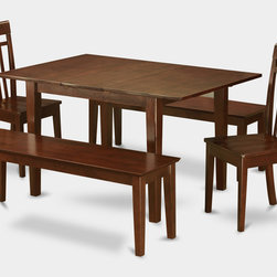 """East West Furniture - Milan 5Pc Dining Set with 2 Capri Wood Seat Chairs and 2 Capri Benches - Milan 5Pc Set with Rectangular 36 X 54 Table with 12 In Butterfly Leaf and 2 Wood Seat Chairs 2 51-In Long Benches; Rectangular dining table is designed in contemporary style with clean angles and sleek lines.; Table and chairs are crafted of fine Asian solid wood for quality and longevity.; Chairs are available with either wooden seats or upholstered seats to suit preference and desired motif.; Table features a standard butterfly leaf for convenient extension.; Ladder back chair style is sturdy, durable, and is ideal for classic decor in any kitchen or dining room.; Dinette sets are available in either rich Mahogany or exquisite Saddle Brown finish.; Weight: 162 lbs; Dimensions: Table: 42 - 54""""L x 36""""W x 29.5""""H; Chair: 17.5""""L x 17""""W x 38.5""""H; Bench: 51""""L x 15""""W x 17.75""""H"""