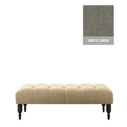 Home Decorators Collection - Custom Hartwell Upholstered Bench - Sit back, relax and put your feet up on our elegant Custom Hartwell Upholstered Bench. Perfect at the foot of a bed or in your living room, this bench features deep diamond tufting and espresso-finished spindle legs. Legs in espresso finish. Assembled to order in the USA and delivered in 4-6 weeks. Spot clean only.