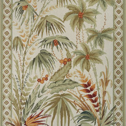 Momeni - Momeni Spencer Sage Green Flowers Transitional 8' x 11' Rug by RugLots - Spencer is a casual collection of hand-hooked rugs featuring soft floral, country, and contemporary designs. Made in China of 100% wool.