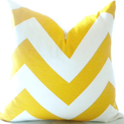 Yellow Chevron pillow cover - Looking for a change of mood or just pick up the spirit of a room, this fresh and stylish, Chevron print in wide three inch yellow chevron is the perfect home decor accent.
