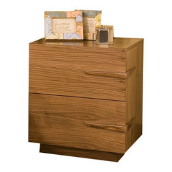 Tucker Furniture - Sideways 2 Drawer Nightstand - A bit Asian, a bit Danish: uniquely American. Custom-built solid wood handles that seem to disappear into the side of the Nightstand are the signature elements of the Sideways group. Efficient drawer slides allow for use of one handle on the drawers. The beautifully-matched wood grain of the veneered drawer fronts adds sophistication to this purely American modern design. The hidden under mount drawer slides create smooth operation of the generously-sized drawers. No engineered wood products used. Features: -English dovetail joints.-Order handles right.-Large drawers offer generous storage.-Made in the USA.-Solid hardwood and plywood construction.-Durable catalyzed wood finish protects wood from water, wine, food, hand lotion, most household products.-Sideways collection.-Frame Material: Solid wood, hardwood plywood.-Solid Wood Construction: No.-Powder Coated Finish: No.-Gloss Finish: Yes.-Hand Rubbed Finish: No.-Number of Items Included: Fully assembled, one item.-Non Toxic: Yes.-Scratch Resistant: Yes.-Drawers Included: Yes -Number of Drawers: 2.-Drawer Interior Finish: Natural finish.-Drawer Glide Material: Metal.-Drawer Glide Extension: 0.75 Extension glides.-Soft Close or Self Close Drawer Glides : Yes.-Safety Stop: Yes.-Ball Bearing Glides: Yes.-Drawer Dividers: No.-Felt Lined Drawers: No.-Joinery Type: Pocket screws, glue and wood reinforcing blocks.-Drawer Handle Design: Finger pull..-Exterior Shelving: No.-Cabinets Included: No.-Top Material: Hardwood plywood.-Lighting Included: No.-Foot Design: Plinth base.-Hardware Material: Wood and metal glide.-Hidden Storage: No.-Interchangeable Panels: No.-Mirror Included: No.-Cable Management: No.-Built In Outlets: No.-Finished Back: Yes.-Distressed: No.-Collection: Sideways collection.-Swatch Available: Yes.-Commercial Use: Yes.-Recycled Content: No.-Eco-Friendly: Yes.-Product Care: Wipe with soft cotton cloth.-Country of Manufacture: United States.Specifications: -F