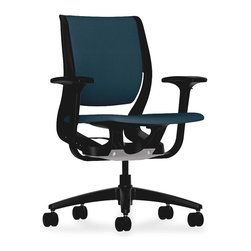 HON - HON Purpose Mid-Back Task Chair With Arm, Cerulean Seat - Engineered to ergonomically support you as you shift and move, without the use of complex manual adjustments, this mid-back task chair features innovative Purpose technology for a personal fit. Three distinct flex zones support your movements and range of postures. The first zone fine-tunes the backrest to the curve of your spine to deliver constant lumbar support; second zone calibrates the back angle during recline; and third evenly distributes pressure points to enhance comfort. These zones control the movement of the independent seat and back and deliver continuous support. Purpose is designed to accommodate everyone from the 5th to the 95th percentile, making it an ideal choice for most people. Upholstered seat and back cushion are designed to contour to the body to offer additional comfort. Functions also include pneumatic seat-height adjustment and 360-degree swivel. 25-1/2 diameter, five-star plastic base is equipped with dual-wheeled hard casters.