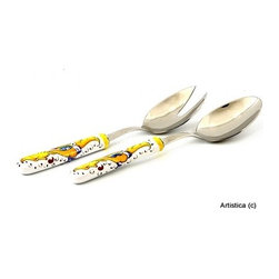 Artistica - Hand Made in Italy - RAFFAELLESCO: Deruta Salad Serving Set with ceramic handle - RAFFAELLESCO Collection: Among the most popular and enduring Italian majolica patterns, the classic Raffaellesco traces its origin to 16th century, and the graceful arabesques of Raphael's famous frescoes.