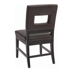 Sunpan Modern - Element Side Chair (Set of 2) - Features: -Material: Bonded leather.-Frame: Solid wood.-Unique cut-out back on this dining chair makes it modern yet very comfortable.-Rear and side stretchers reinforce the strength making it ideal for restaurants and hotels.-Finish: Matte black.-Please note that although every attempt has been made to ensure accuracy, all dimensions are approximate and colors may vary.-Please note that the leg color on Sunpan dining chairs does not always match the dining table color.-Element collection.-Collection: Element.-Distressed: No.Dimensions: -Seat height: 19''.-Overall Product Weight: 23.5 lbs.Warranty: -This item is deemed acceptable for both residential and nonresidential environments such as restaurants, hotels, lounges, offices and reception areas. Please note that this item carries the manufacturer's standard ONE YEAR WARRANTY from the date of purchase. Please contact Wayfair customer service or sales representatives for further information.