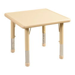 """Ecr4kids - Ecr4Kids Kids Preschool Classroom Square Resin Activity Table 24"""" Legs Yellow - Tabletop made of fade-resistant Polyethylene that will not crack, chip or peel. reinforced steel frame. Legs adjust in 1"""" increments from 13.25"""" to 22.25"""". Choose from one of our Soft Tone Colors.Easy to clean surface, use a damp cloth or sponge using warm water & mild soap. Wipe dry. Use only a non-abrasive general purpose cleanser. Abrasive or alcohol based cleansers will mark/stain the table surface.Style Notes: Spring Canary Yellow (YE)"""