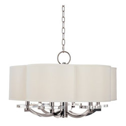 Hudson Valley Lighting - Hudson Valley Lighting 1426 Garrison 6 Light Drum Chandelier with Faux Silk Shad - Lighthearted inspirations play across the art pieces of the Garrison collection. The scalloped curves of Garrison's one-of-a-kind shades plant a clover motif that blossoms below in crystal bobeches and springs above in the matching canopy. While Garrison is undeniably fun, it brings sleek metal, polished crystal, and well-tailored textiles together in the clean, elegant mode of quintessential modern design.Dimensions: