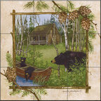 The Tile Mural Store (USA) - Tile Mural -  Log Cabin  - Kitchen Backsplash Ideas - This beautiful artwork by Anita Phillips has been digitally reproduced for tiles and depicts a framed bear.    A bear tile mural would be perfect as a part of your kitchen backsplash tile project or your tub and shower surround bathroom tile project. Bear images on tile make a great kitchen backsplash idea and are excellent to use in the bathroom too for your shower tile project. Consider a tile mural with bear pictures for any room in your home where you want to add wall tile with interest.