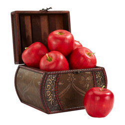 "Nearly Natural - Faux Apple (Set of 6) - Richly colored and designed, these ""never spoil"" apples are a great addition anywhere, from the kitchen to a great table decoration. Place a few around your centerpiece, and leave one out as an invitation for guests to examine the rich subtle apple red colors and varied greenery of the stems. Lasts forever with no need to worry about spoilage (or a friendly worm!)"