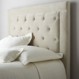 """Horchow - """"Concordia"""" Headboard - Handcrafted headboard combines a tailored border with a button-tufted inset for a look that grounds your bed with classic elegance. Engineered hardwood frame wrapped in polyester upholstery. Select color when ordering. Hand tufted. Finished back. T..."""