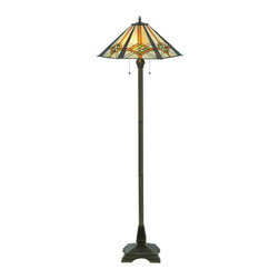 Meyda Tiffany - Crosshairs Mission Hex Floor Lamp - Bulbs not included. Requires two 60 watt medium bulbs. Mission prairie stickley theme. Shade with diamonds and raised bands of root beer granite glass on panels of bone beige and moss green. Dark bronze base. Overall: 21 in. W x 61 in. H (133 lbs.). Care InstructionsThis lamp shade, inspired by the clean geometric lines of the mission style. Hand cut pieces of glass are wrapped in copperfoil and soldered together in the tiffany tradition to make this handsome shade. The hexagonal shaped shade is supported by a 2 light mission styled, footed floor base.