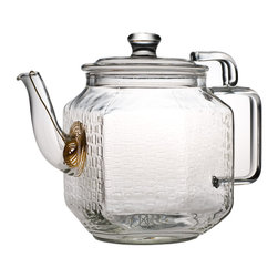 Teaposy - Teaposy Plato Teapot - Teatime is your chance to slow down and enjoy the unfolding of the present moment, and why not start with the steeping of your tea? This elegant glass teapot makes the tea steeping a part of your ritual by letting you watch it happen. Whether you use a blossoming tea or steep loose tea in the gold plated filter, it will look beautiful through the clear glass with its delicate pattern of raised squares.