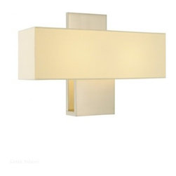 """Sonneman - Sonneman Ombra Wall Sconce - The Ombra Wall Sconce Wall Sconce by Sonneman has been designed by Robert Sonneman. A mid-century modern design influence is evident in the rectangular Off-White linen shade and the similarly sharp lines of the metal shade holder and wall plate. Available in two finishes and with either incandescent or energy efficient fluorescent.  Product description:  The Ombra Wall Sconce Wall Sconce by Sonneman has been designed by Robert Sonneman. A mid-century modern design influence is evident in the rectangular Off-White linen shade and the similarly sharp lines of the metal shade holder and wall plate. Available in two finishes and with either incandescent or energy efficient fluorescent.  Details:      Manufacturer:     Sonneman         Designer:    Robert Sonneman        Made in:    USA        Dimensions:     Shade:Width:16"""" (40.64 cm) X Height:5"""" (12.7 cm) X Depth:4"""" (10.16 cm)  Wall Plate:Width:5"""" (12.7 cm) X Height:11"""" (27.94 cm)        Light bulb:     2 X E12 Candelabra Max 60W Incandescent (not included )   1 X G24Q-1 Quad Max 13W Flurescent (not Included)      Material:     Metal,Glass"""