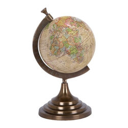 Benzara - 15 in. x 8 in. Aluminum Globe - Beautifully carved 28326 Aluminum Globe is the one such table decor item that serves as an educational aid for your kids who are pursuing geography.