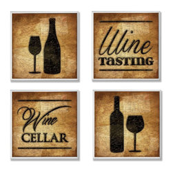 Stupell Industries - Wine Cellar and Tasting 4 Pc Wall Plaque Set - Made in USA. Ready for Hanging. Hand Finished and Original Artwork. No Assembly Required. 24 in L x 0.5 in W x 24 in H (8 lbs.)Whether you love the romance of Paris, the buzzing nightlife of New York City, or Chicago's deep dish pizza, celebrate your favorite city with a distressed hand-finished wall plaque. Featuring trendy typography-styled letters in a monochromatic color scheme, these plaques will add edgy appeal to any room of your house. Each plaque is constructed of sturdy medium-density fiberboard with coved and painted borders and a sawtooth hanger for simple installation.