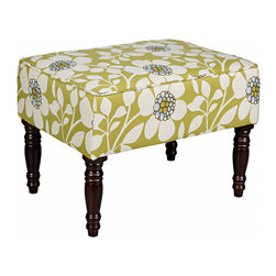 PORTFOLIO - Portfolio Jemma Green Floral Small Bench - The Jemma bench is part of the Portfolio Collection. The upholstered Jemma bench is covered in a green and cream floral fabric.