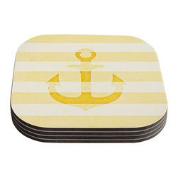 """Kess InHouse - Monika Strigel """"Stone Vintage Anchor Yellow"""" Mustard White Coasters (Set of 4) - Now you can drink in style with this KESS InHouse coaster set. This set of 4 coasters are made from a durable compressed wood material to endure daily use with a printed gloss seal that protects the artwork so you don't have to worry about your drink sweating and ruining the art. Give your guests something to ooo and ahhh over every time they pick up their drink. Perfect for gifts, weddings, showers, birthdays and just around the house, these KESS InHouse coasters will be the talk of any and all cocktail parties you throw."""