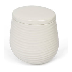 Kassatex - Kassatex Mojave Collection Cotton Jar - Why can't elegance be an everyday affair? This embossed porcelain cotton jar graciously holds just about everything you need in the bathroom to start or end your day.