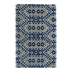 Kaleen - Kaleen Global Inspirations Collection GLB01-17 8' x 10' Blue - The Global Inspirations collection brings you beautiful motifs influenced by d_cor from all over the world. You no longer need to wander the streets of Europe or Asia looking for that hidden gem, our Global Inspirations collection found it for you!  Each rug is hand-tufted in India from 100% of the very finest wool, to achieve today's hottest worldly designs and patterns.