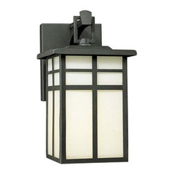 Thomas Lighting - Mission Matte Black Small Outdoor Wall Lantern - Inspired by simplicity and craft, this outdoor mission lantern is crafted of aluminum in a matte black finish.  Cream colored glass creates an inviting glow.  It features an easy hanger to simplify the wiring process.  The height from the center of the outlet box is 3 1/2.  The backplate measures 4 1/4W x 5 5/8H.   Thomas Lighting - SL9104-7