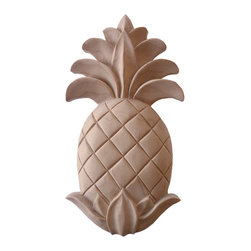 "Inviting Home - Pineapple Large Wood Carving - Maple - Carved wood pineapple - maple hardwood 8""H x 4-1/4""W x 5/8""D Pineapple wood carving is hand crafted from premium selected North American hard maple. Wood carving features carved in deep relief pineapple design. Pineapple carvings are triple sanded and ready to accept stain or paint. Carved wood pineapples are popular for a wide range of applications. Most often carving used as an adornment for the door panels cabinets and furniture applications as an elements of wall paneling or as a decorative part of any other architectural element."