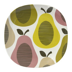 """Orla Kiely - Orla Kiely Melamine Side Plate - Giant Pear/Candy Floss - Set of 2 - Set of 2 Orla Kiely Giant Pears print melamine side plates. Perfect for outdoor entertaining or everyday dining. 100% melamine; BPA and Phthalate free. Dishwasher safe; not suitable for microwave use. Measures: 8.5""""l x 8.5""""w x 0.75""""h"""