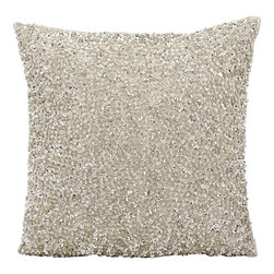 """Nourison - Nourison Michael Amini Pillow FM002 Silver 18"""" x 18"""" - A treasure of silver sequins presents style you can bank on in this Michael Amini original. It's the perfect pillow to add a touch of radiance. Picture it on a chair,a sofa or as part of your bed-dressing for a light and sparkling effect."""