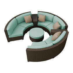Forever Patio - Hampton Radius 6 Piece Outdoor Sectional Set, Chocolate Wicker and Spa Cushions - The Forever Patio Hampton Radius 6 Piece Outdoor Rattan Sectional Set with Turquoise Sunbrella cushions (SKU FP-HAMR-6SEC-CH-SP) comfortably seats 6 to 7 adults, and conveniently includes an ottoman and contouring end tables that accent the 3 curved loveseats. This set features Chocolate resin wicker, which is made from High-Density Polyethylene (HDPE) for outdoor use. Each strand of this outdoor wicker is infused with the rich color and UV-inhibitors that prevent cracking, chipping and fading ordinarily caused by sunlight, surpassing the quality of natural rattan. Each piece features thick-gauged, powder-coated aluminum frames that make this curved outdoor sofa set extremely durable. Also included with the set are fade- and mildew-resistant Sunbrella cushions. With its deep-seated design and plush cushions, this round patio sofa sectional set features top-of-the-line comfort and size, especially when compared to the competition.