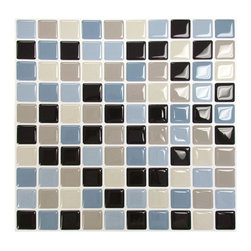 Smart Tiles Multicolored Peel-and-Stick Maya Mosaic Decorative Wall Tile - With a pretty mix of blues and browns, this would even look great in a bathroom.